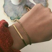 Vnox-ensemble de bracelets pour femmes, avec chaînes plates serpent, Figaro Link, Chic, avec Bracelet en acier inoxydable ajustable, couleur or