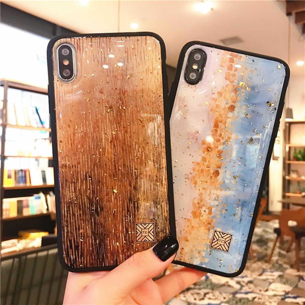 Folha de Mármore de ouro Caso de Telefone para o iphone 11 XS Pro Max XR X 7 8 6 6s Mais Caso starry Sky Glitter Capa de Silicone Macio para o iphone X