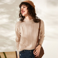 100% cashmere wool high collar cashmere sweater women's thick simple split sweater sweater autumn winter new wild sweater