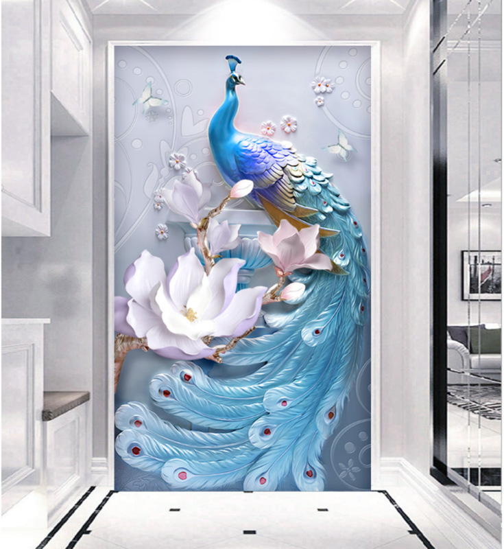 European Style Entrance Wall Decoration 3D Wallpaper Mural 5D Vertical Wallpaper Living Room Corridor Hallway 8D Wall