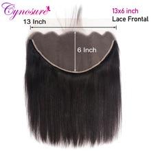 Cynosure-mechones de pelo liso brasileño con cierre Frontal de malla Color Natural, 100% Frontal Remy, 13x6