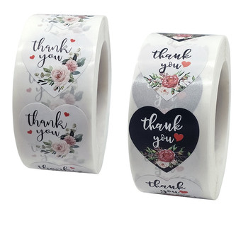 New 500pcs Heart Floral Thank You stickers Seal Labels Cute Gift Decor Sticker for Business Package Envelope Stationery Stickers 500pcs animal reward stickers with 8 cute thank you stickers seal lables for kidsback to school gift kindergarten toys sticker