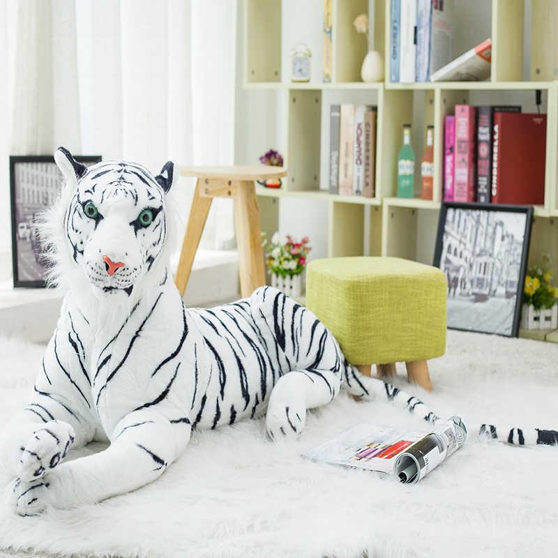 30-120cm tigre blanc géant jouets en peluche doux Animal sauvage oreiller Animal poupée jaune tigre noir léopard panthère jouet pour enfants