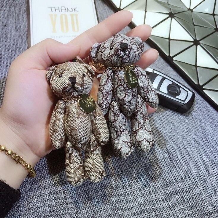 Cartoon Bear Toy Women Handbag Pendant Bear Keychain Vintage Dog Ornamentation Gift Fashion Bags Keychain Retro Bear Pendant