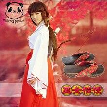 Anime Inuyasha Kikyo Kimono Full Set Cosplay Costume Halloween Top + Skirt Clogs Socks