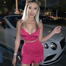 Dress Spaghetti-Strap Lace Ruffle-Wrap Female Women Summer Club Backless 2pieces Vestidos