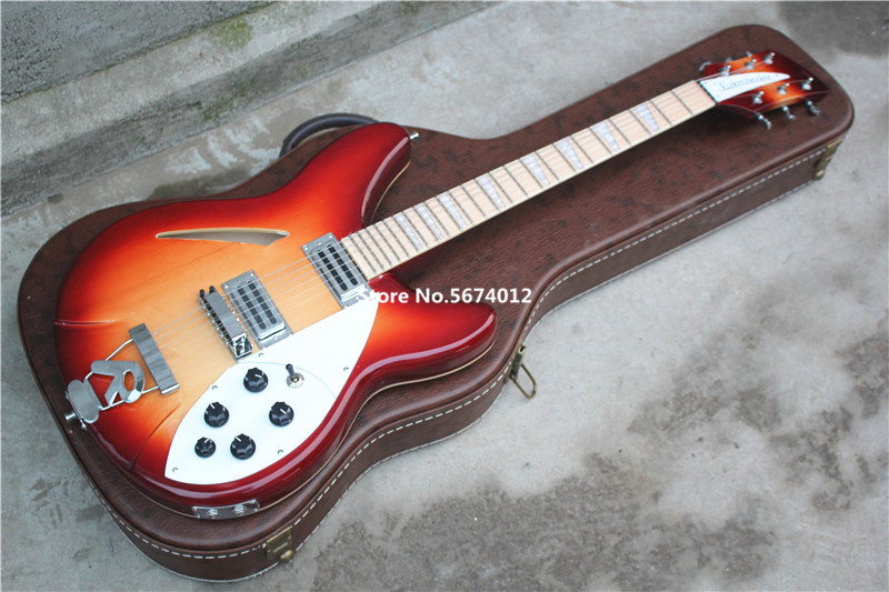 6 string electric <font><b>guitar</b></font> cherry red maple fingerboard <font><b>360</b></font> electric <font><b>guitar</b></font> semi - hollow <font><b>guitar</b></font> free shipping image