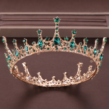 Vintage Baroque Green Crystal Round Queen Crown Wedding tiara Bridal Diadem Gold Color Headpiece Dress Wedding Hair Accessories цена 2017