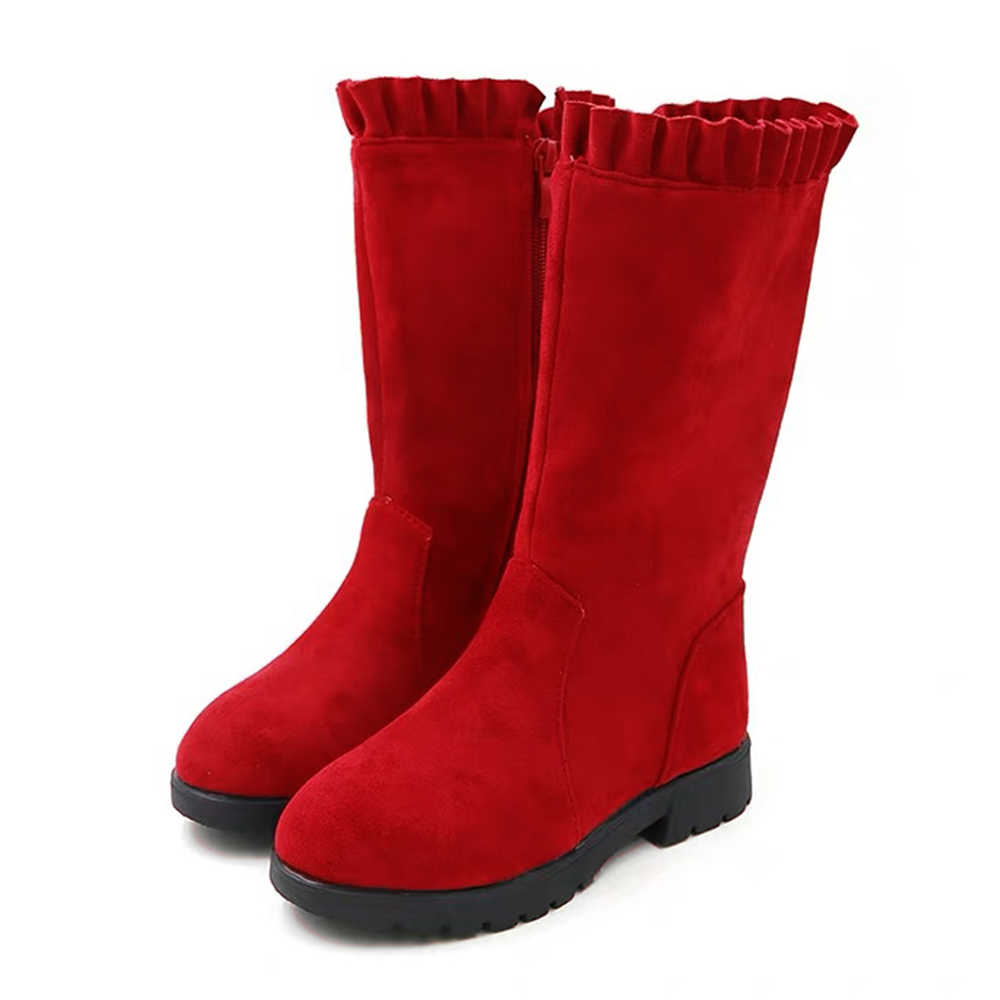 Kids Boots Toddler Infant Kids Shoes Princess Mid-Calf Shoes Fashion Suede Comfortable Red Shoes Ruffle Top Zip Winter Boots D30