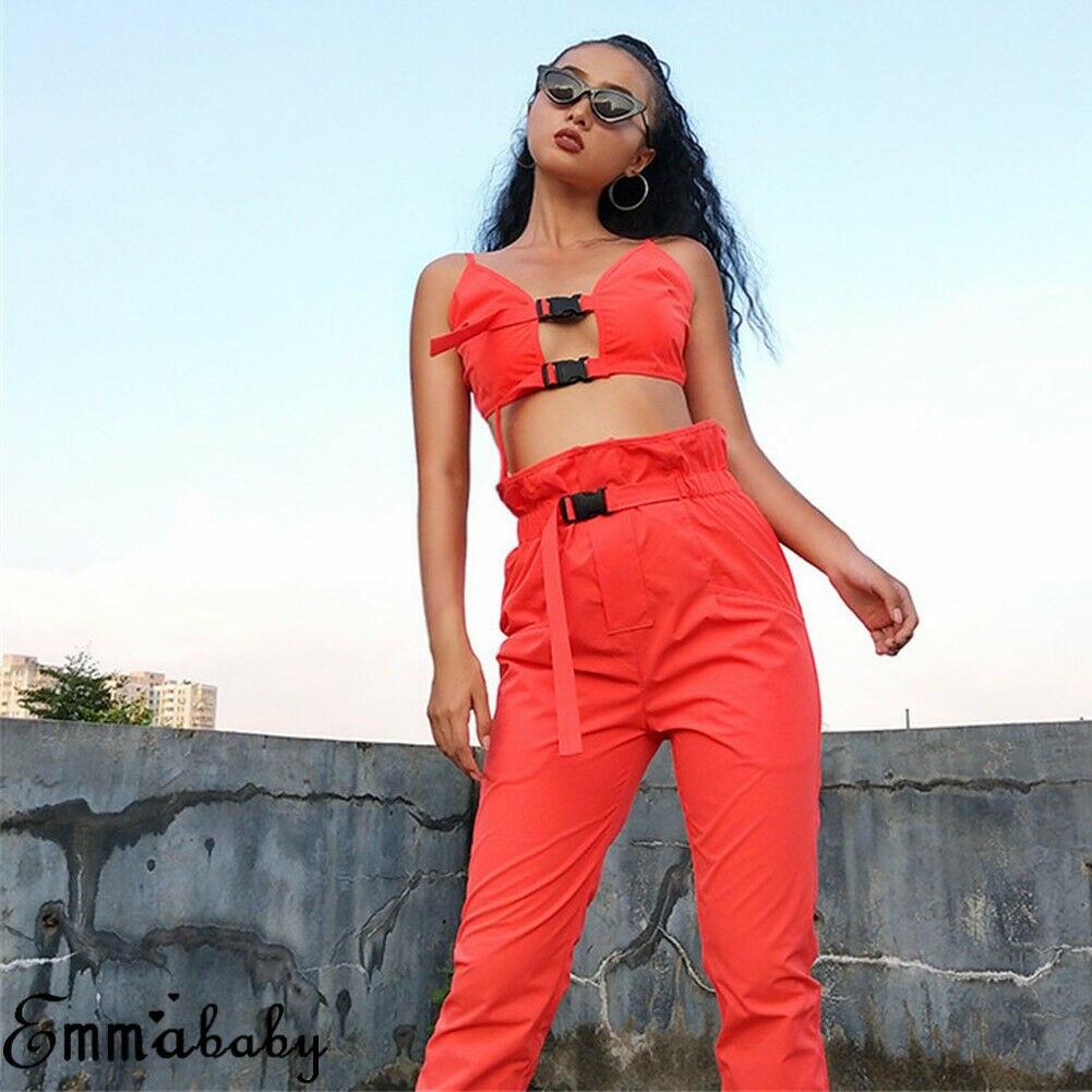 2Pcs Women Set Cami Cool Bra Button Hollow Out Tops Sleeveless Belt Cargo Pockets Long Pants Set 2020 Hot Sale Women Summer Set