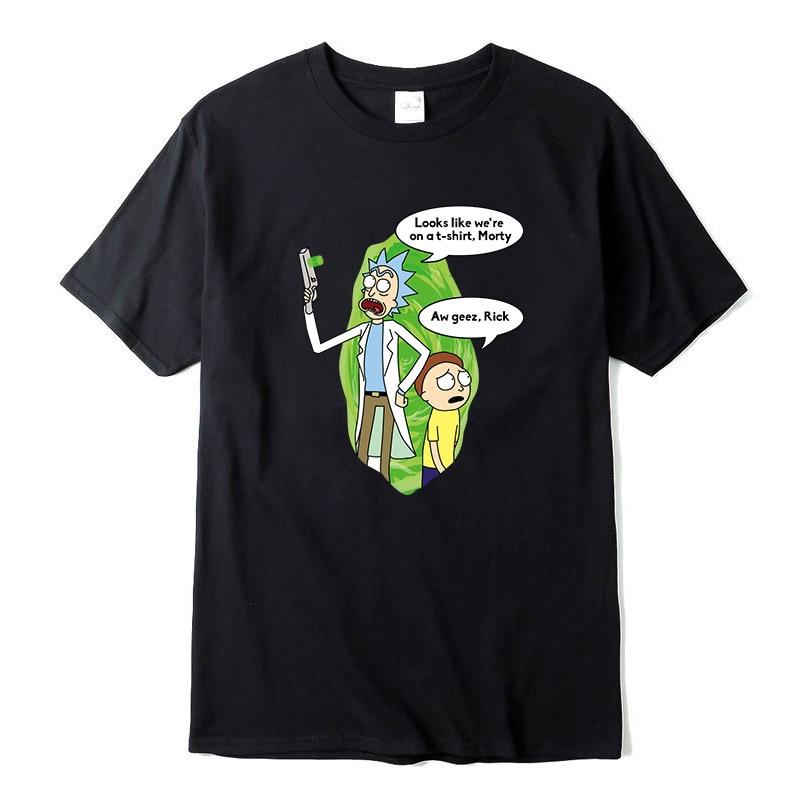 Summer New Men T-shitrs Cool Rick Morty Print Men T Shirt Peace Among Worlds Folk T-Shirt 100% Cotton Casual Funny Short Tops