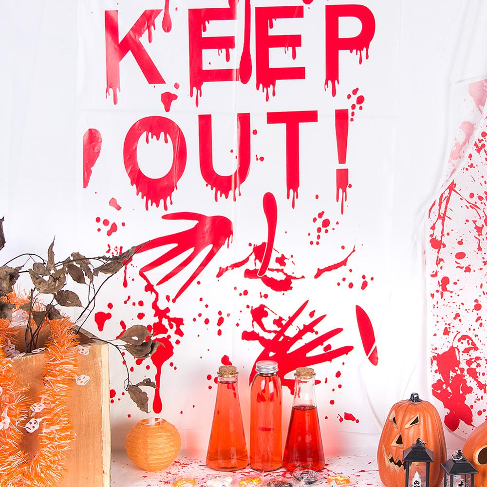1pc Window Sticker Halloween Keep Out Decor Red Bloody Pattern Hand Print Door Wall Plastic Sticker Party Supplies Decorations in Party DIY Decorations from Home Garden