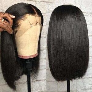 13х4 кружевные передние человеческие волосы, парики Remy Bob, кружевные передние парики для черных женщин, 150% бразильские прямые человеческие во...
