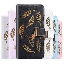 Leather Leaf Phone Case for LG K40 Hollow Craft Cover for LG K40 LGK40 K 40 K50