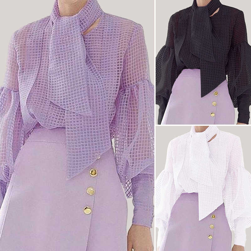 Koszule damskie bluzka Sexy Hollow Out latarnia rękaw bluzki eleganckie damskie koszule z szalikiem 2020 VONDA przepuszczalność Blusas Plus