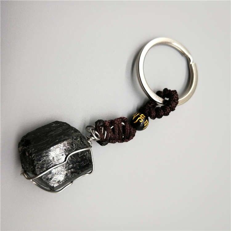 Natural Black Tourmaline Gemstone  Specimen Hand Made Keychain