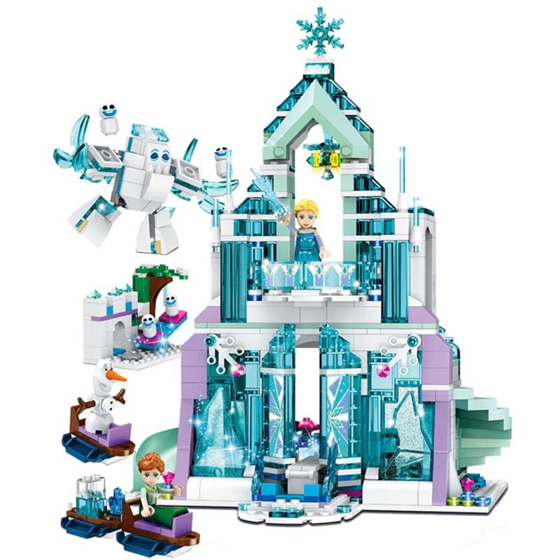 Frozen Snow World Series The Elsa`s Magical Ice Castle Set girls Model Building Blocks Bricks Toys Girl friend compatible|Action & Toy Figures| - AliExpress