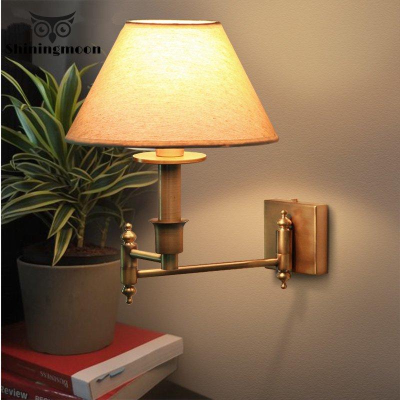 Créatif européen Appliques Vintage Tissu Chambre Salle à manger Mur Lampe Salon Décoration Applique Murale Lumière de Vanité