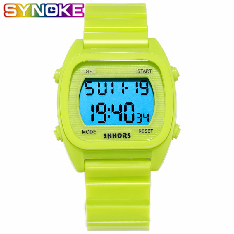 SYNOKE 2019 New Boys Watches Kids Children Watch Led Sports Watches Colorful Blue Green PU Strap LED Week Display Alarm Students