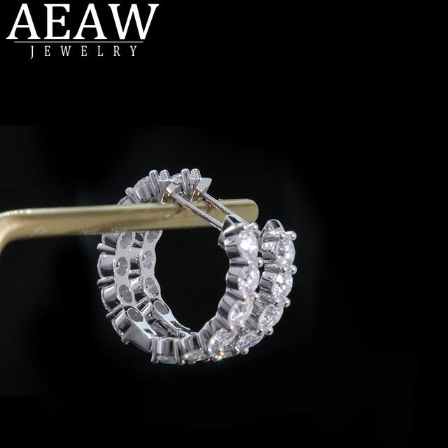 AEAW 14K White Gold DEF 3.5mm 2.4ctw Moissanite Hoop Earrings Moissanite  Engagement Wedding for Women
