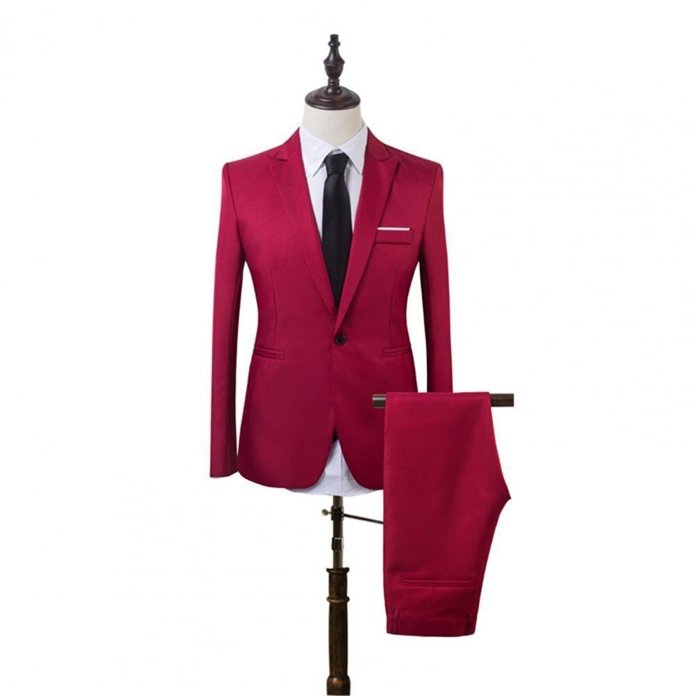 2021 Men Suit Set Solid Color Slims Fit Lapel Formal Stylish One Button Pockets Blazer Wedding Suit