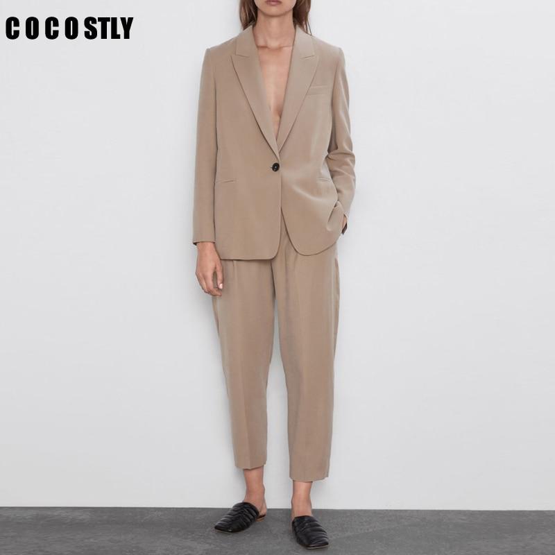 Autumn Business Pant Suits Women Vintage Single Button Blazer Coat Feminino Trouser Female Office 2 Pieces Set Women Mujer
