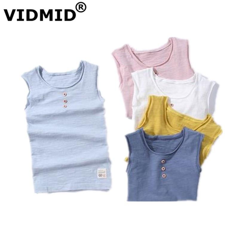 VIDMID New Baby Children vests summer boys Girls tanks sleeveless t-shirt Cotton solid tanks kids boys  beach clothes 7010 07 1