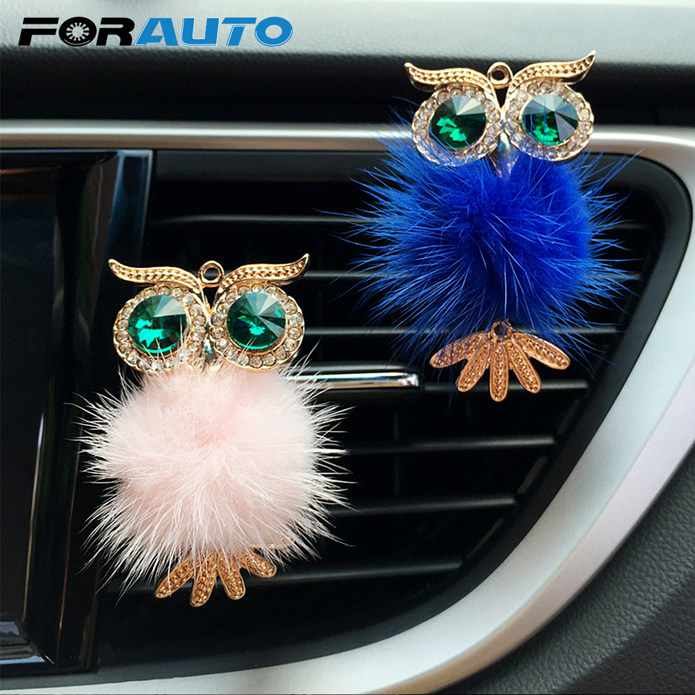 FORAUTO Car Air Freshener Auto Outlet Perfume Clip Crystal Owl Vent Solid Fragrance Diffuser Car-styling Interior Accessories