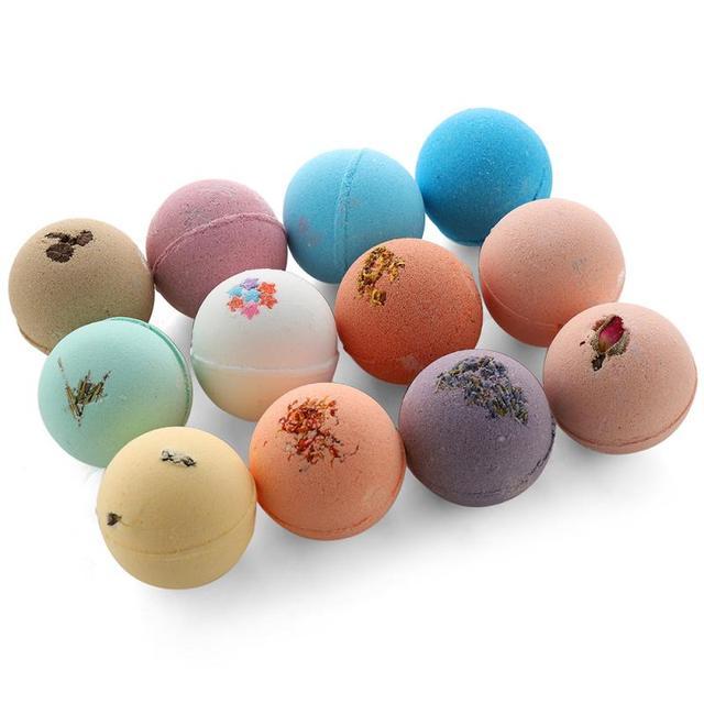 NEW 12 Pcs/set Petal Handmade Essential Oil Moisturize Bath Salt Bubble Bath Bomb Round Ball Explosion Salt Bath TSLM2 1