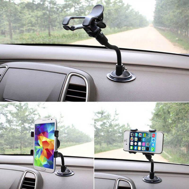 For IPhone Smartphone Windshield Cell Stand Holder 360 Degree Mount Stand In Car Black Mobile Car Phone Holder Support GPS TSLM1