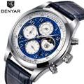 BENYAR Топ люксовый бренд Moon Phase часы мужские водонепроницаемые Хронограф военные спортивные кварцевые часы мужские часы Relogio Masculino