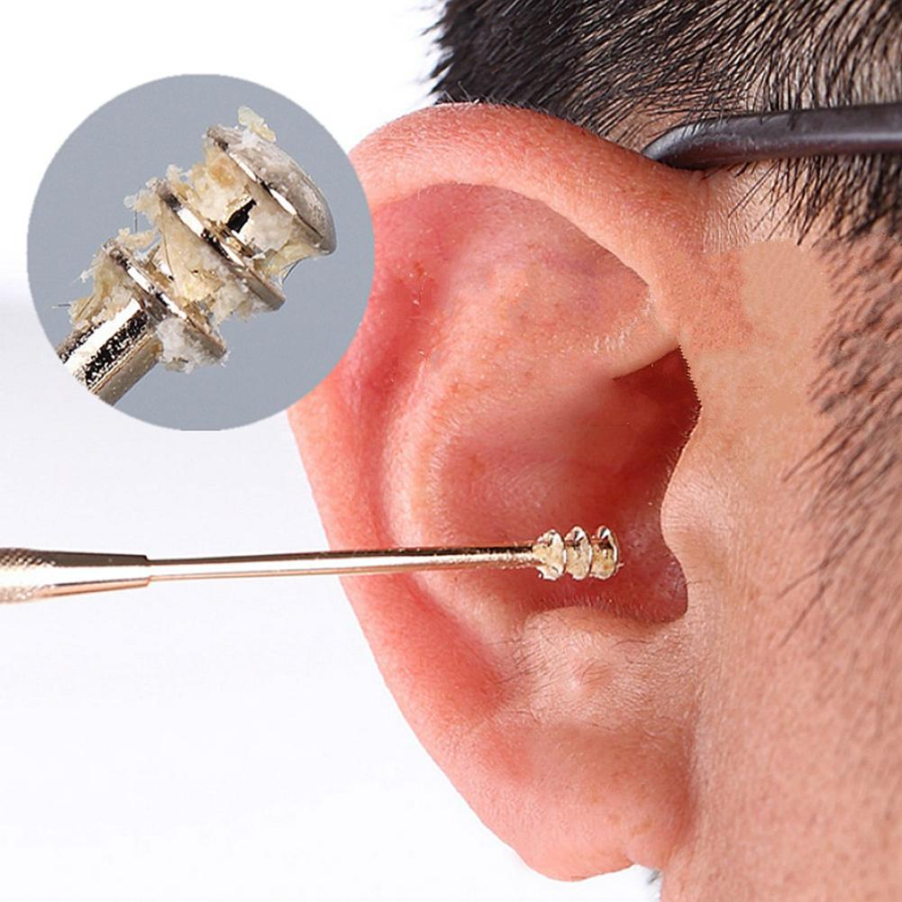 1PC Double-ended Stainless Steel Spiral Ear Pick Spoon Ear Wax Removal Tool Cleaner Ear Care Beauty Portable Earpick