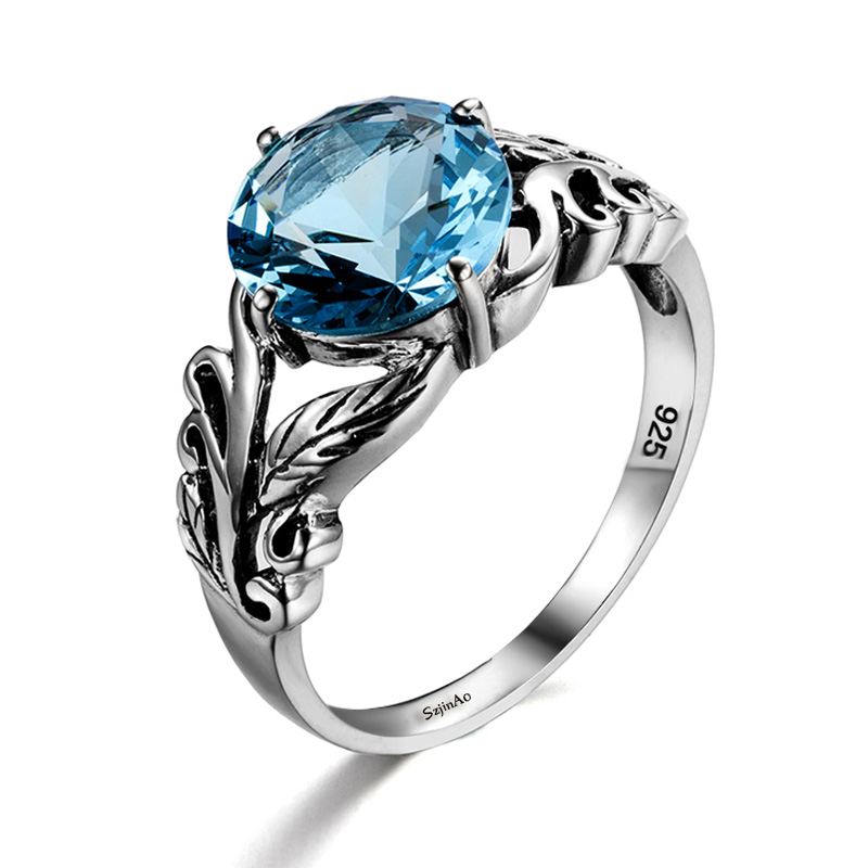 Authentic Aquamarine <font><b>Ring</b></font> 100% 925 Sterling Silver Women Retro Pretty Engagement Plant Leaf Victoria <font><b>Carter</b></font> <font><b>Love</b></font> Jewelry Clamor image