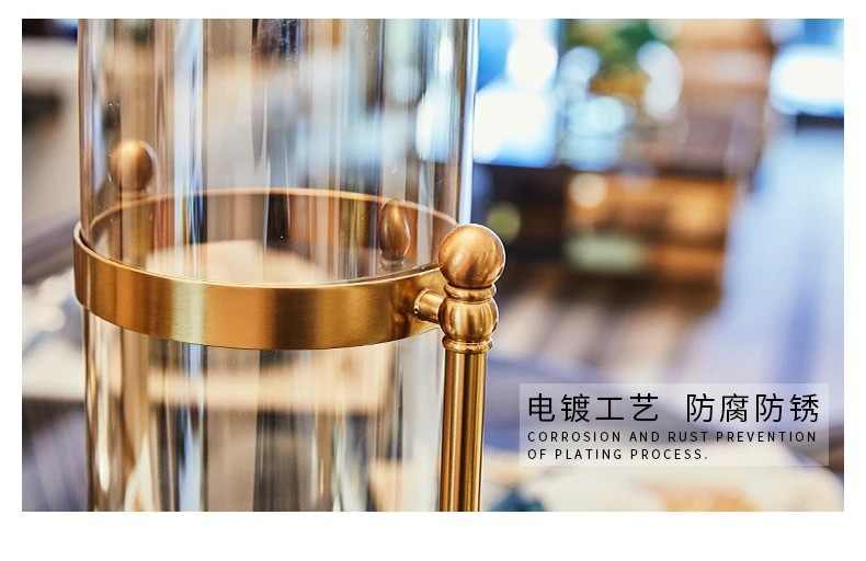 Transparan Kaca Lilin Pemegang Logam Vas Nordic Tempat Lilin Model Kamar Candle Stand Pengaturan Mumluk Pabrik FC332