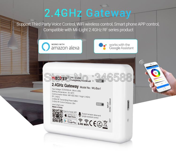 Miboxer WL-Box1 2.4G Gateway Wifi Controller Support IOS/Andriod Wireless APP Alexa Google Voice Control For All Milight Product