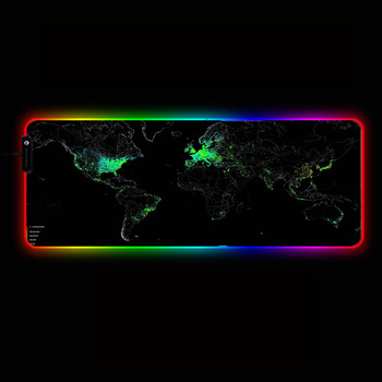 30X60/40X90CM RGB Gaming Mouse Pad Gamer Computer LED Lighting USB Large World Map Mousepad Colorful Non-slip Desk Pad Mice Mat