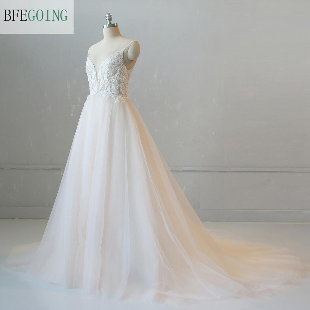 Luxurious Ivory Tulle Lace Appliques V-Neck Spaghetti Straps A-line Wedding Dress Chapel Train Custom Made