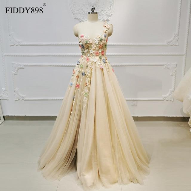 New 2019 Evening Dresses Long with Slit One Shoulder Beaded Flower Evening Gown Formal Party Dress Vestido de Fiesta de noche
