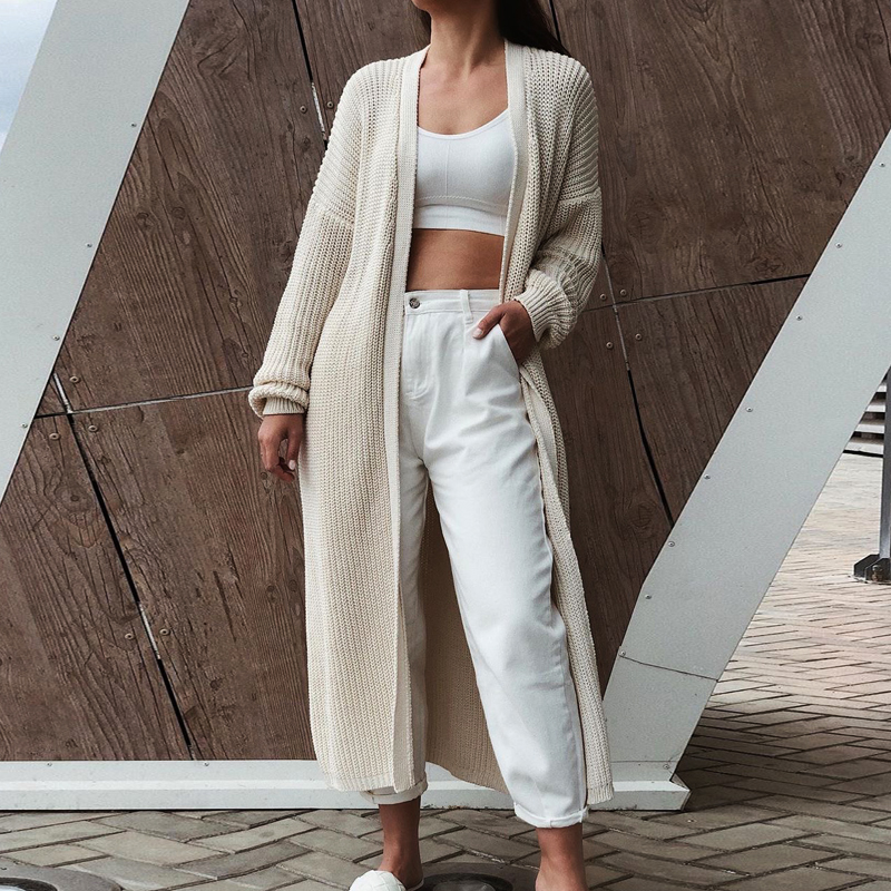 Women's cardigans 2021 New Style for Autumn and Winter Casual Long Knitted Cardigan women sweater Jacket V Neck Full Cardigans