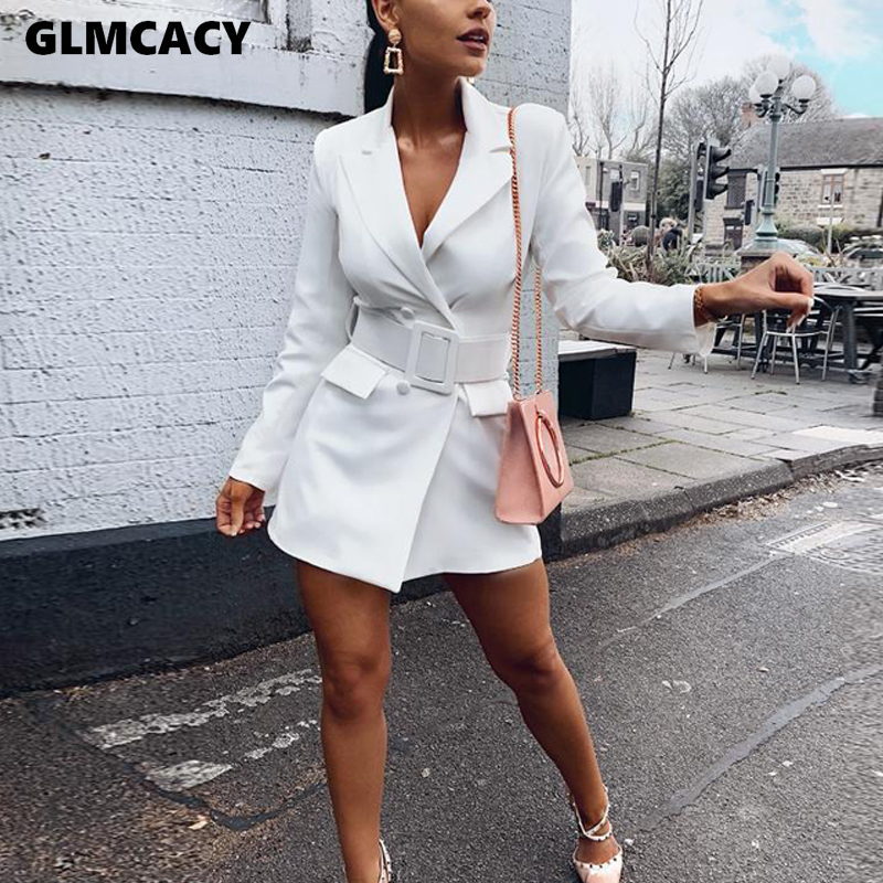 Women Office Lady Notched Double Breasted Long Sleeve Blazers Autumn Streetwear Solid Sashes Slim Long Blazers