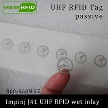 UHF RFID наклейка Impinj J41 влажная инкрустация 915 МГц 900 868 МГц 860-960 МГц EPCC1G2 6C смарт-клейкая Пассивная RFID этикетка