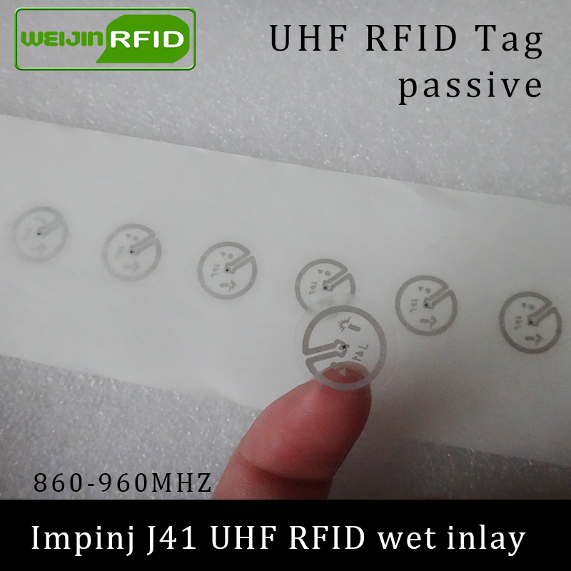 UHF RFID Tag Sticker Impinj J41 Wet Inlay 915mhz 900 868mhz 860-960MHZ  EPCC1G2 6C Smart Adhesive Passive RFID Tags Label