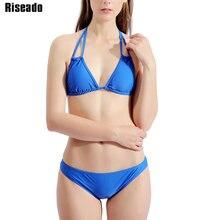 Riseado Strap Halter Sexy Bikinis Women Swimsuits Solid Push Up Swimwear Mirco Summer Beach Wear biquini Bathers