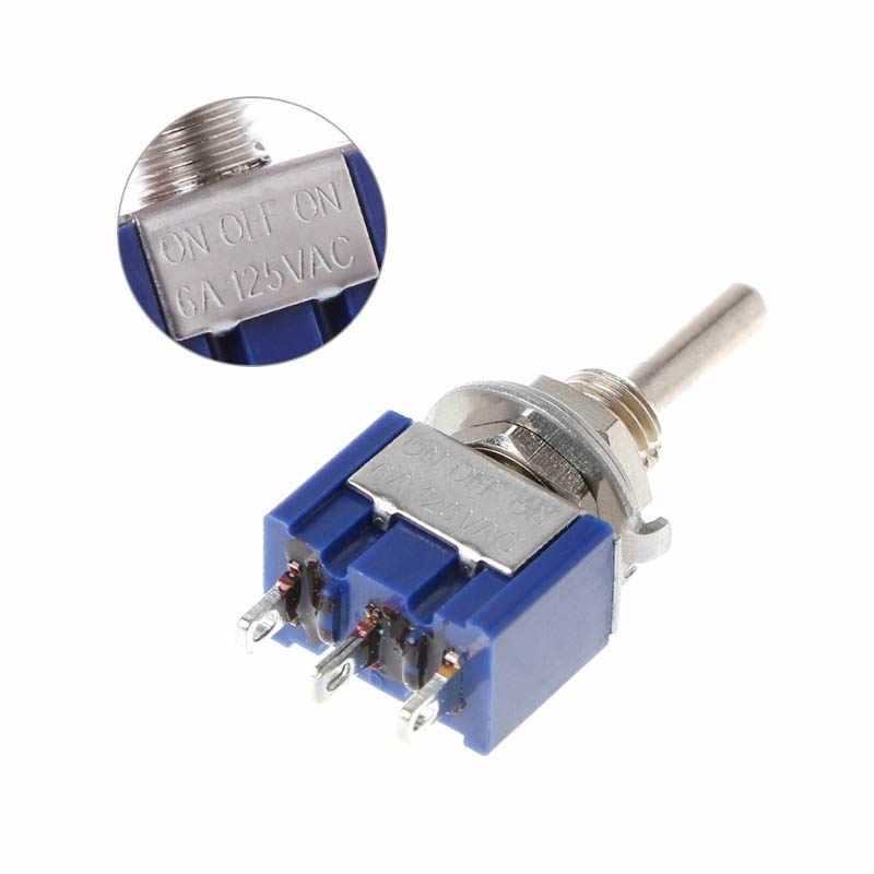 SPDT Buah Rocker Switch Lampu Motor MTS-102 5A 6A 125V 3A 250 AC Mini 3 6PIN On-On on-OFF-On Reset Menempel Toggle Switch