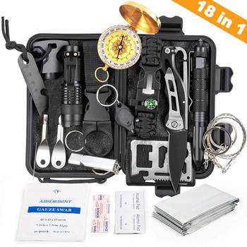 18 IN 1 Outdoor Survival Kit Set Camping Travel Multifunction Tactical Defense Equipment First Aid SOS for Wilderness Adventure