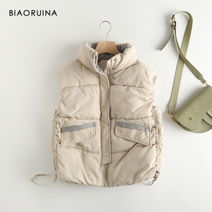 Image 4 - BIAORUINA Womens Korean Style Solid Sleeveless Winter Keep Warm Winter Vest Coat Single Women Breasted Loose Thick Fashion Vest