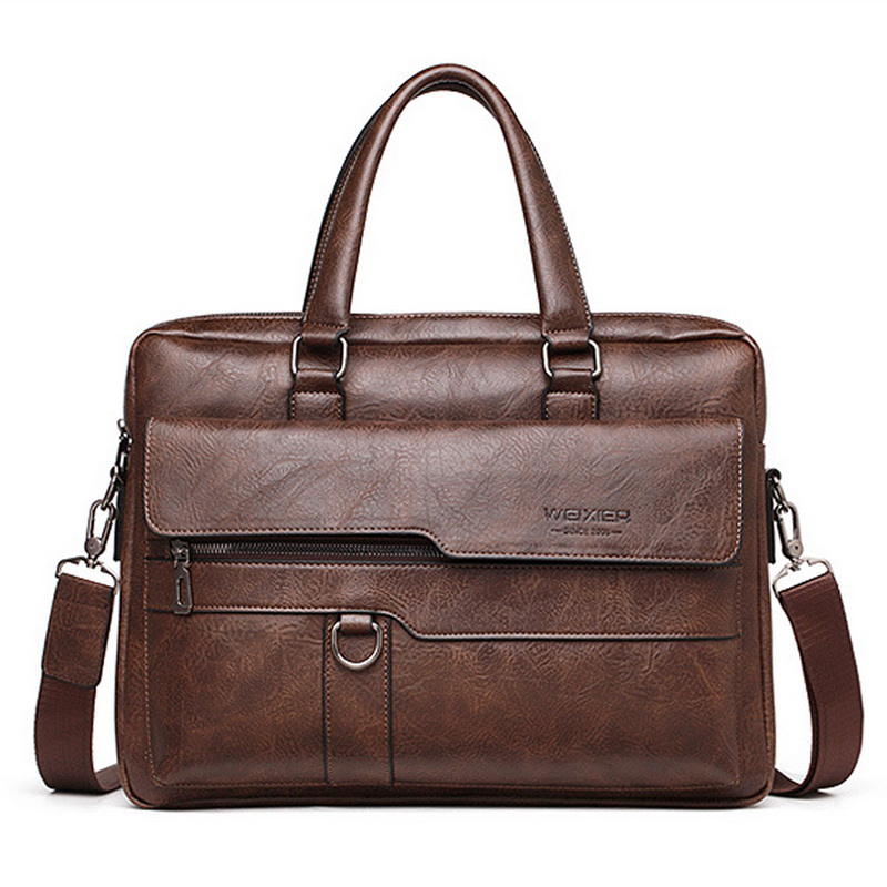 2020 Men's Business Black Casual Bag Pu Leather Briefcase Men's Tote Bag Brown High Quality Male Business Large Capacity Handbag