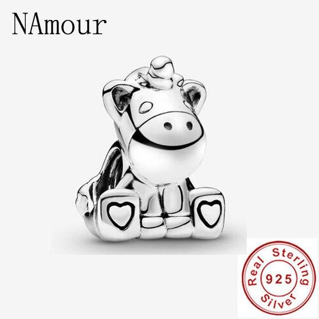 New theo bear pig animal kingdom cat dog unicorn Bead fit original Pandora charms silver 925 Bracelet for women fashion jewelry 4