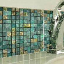 Funlife®Зеленая металлическая мозаичная Наклейка на стену съемная