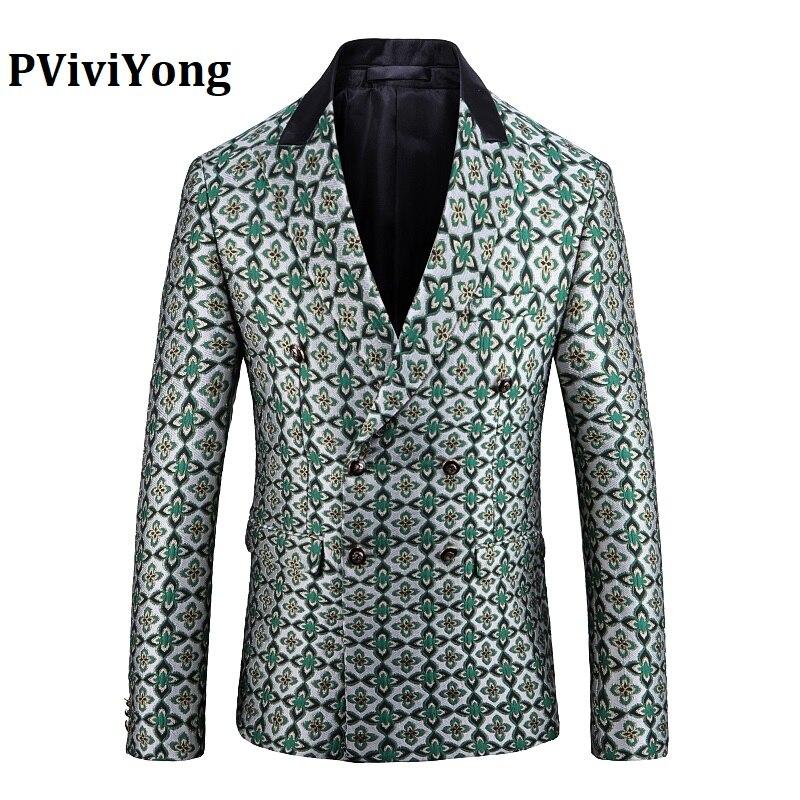 PViviYong Brand 2019 High Quality Suit Top For Men,men Blazer Japanes Style Grid Suit Men Slim Fit Suit Men Jacket 1941